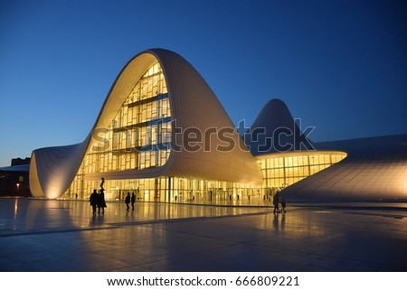 Baku, Azerbaijan - May 08, 2017. Heydar Aliyev Merkezi - the Convention, Congress and Exhibition hall