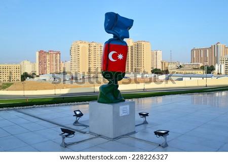 Baku, Azerbaijan - MAY 22, 2014: Sculpture Flag of the Azerbaijan in Heydar Aliyev Center