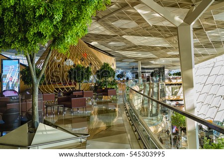BAKU, AZERBAIJAN - NOVEMBER 14, 2016: Security check area inside the main terminal of an Heydar Aliyev Airport in Baku, Azerbaijan - the main airport in the capital. #545303995