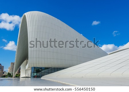 Baku, Azerbaijan - October 10, 2016: Heydar Aliyev Center Museum in Baku, Azerbaijan autumn time. Cosmic architecture of Zaha Hadid architect. Modern cultural center, which became a new symbol of Baku #556450150