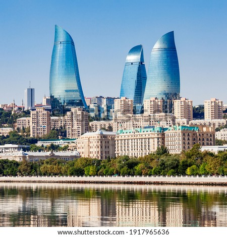 Baku city skyline. Baku is the capital and largest city of Azerbaijan.