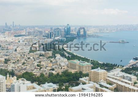 Baku city view from bird fly