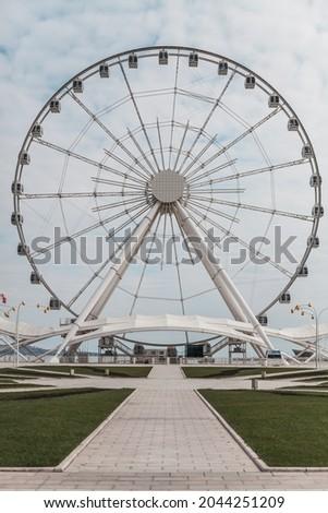 Baku eye on the embankment of Baku, Azerbaijan. Park on the waterfront in Baku. High quality photo