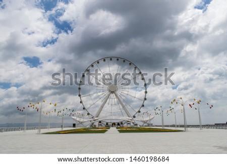 Baku Ferris wheel, against the beautiful sky