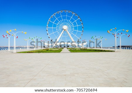 Baku Ferris Wheel also known as the Baku Eye is a Ferris wheel on Baku Boulevard in the Seaside National Park of Baku, Azerbaijan