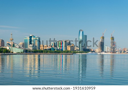Baky skyline view from Baku boulevard or the Caspian Sea embankment. Baku is the capital and largest city of Azerbaijan and of the Caucasus region