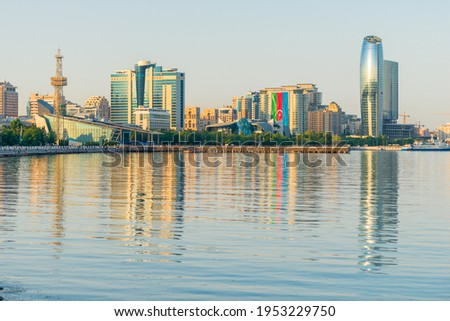 Baky skyline view from Baku boulevard or the Caspian Sea embankment. Baku is the capital and largest city of Azerbaijan and of the Caucasus region.