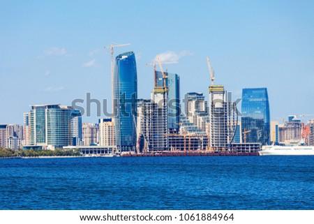 Baky skyline view from Baku boulevard (the Caspian Sea embankment). Baku is the capital and largest city of Azerbaijan and of the Caucasus region.