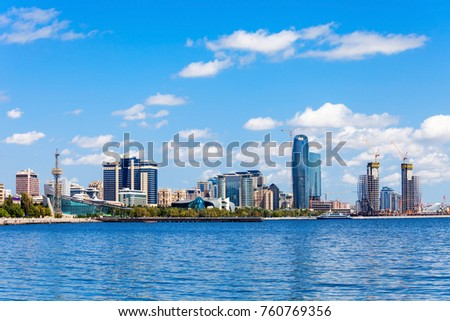 Baky skyline view from Baku boulevard (the Caspian Sea embankment). Baku is the capital and largest city of Azerbaijan and of the Caucasus region.