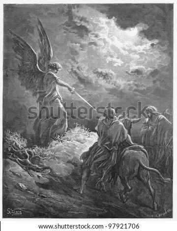 Balaam meets an angel -  Picture from The Holy Scriptures, Old and New Testaments books collection published in 1885, Stuttgart-Germany. Drawings by Gustave Dore.