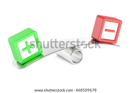 Balance concept plus or minus, 3D rendering isolated on white background