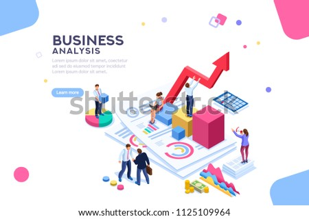Balance financial value, management and administration concept. Characters, people engineering a plan. Statistic, calculating financial risk graph. Flat Isometric characters illustration.
