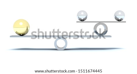 Balance - Golden Sphere - Silver Sphere - White Background 3D Rendering