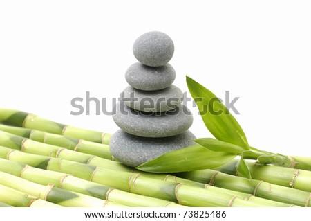 balance gray stone with bamboo grove