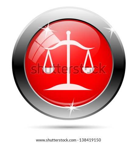 Balance icon with white on red background