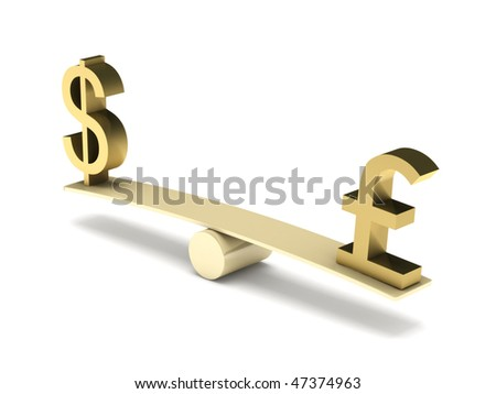 Balance of dollar and pound sterling isolated on white background. High quality 3d render.