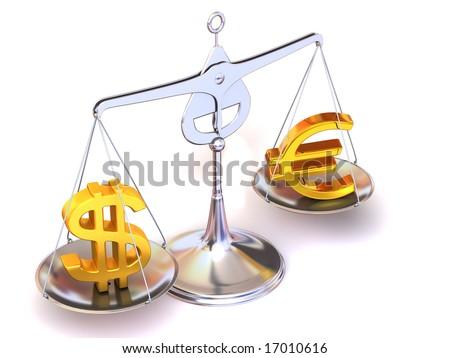 balance of euro and dollar. 3d