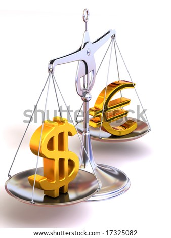 balance of euro and dollar. 3d