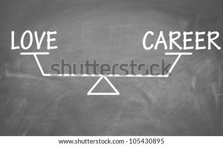 Balance of love and career - stock photo