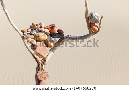Balance of stones on a dry snag on a sand background. Concept of harmony, balance and meditation. Soft focus, selective focus, Copy space. Soft focus, selective focus #1407668270