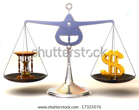 balance of time and money. 3d - stock photo