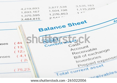 Balance sheet in stockholder report book, document is mock-up