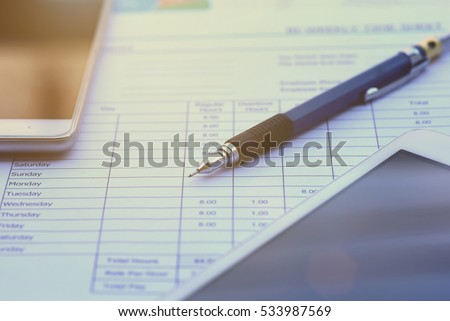 Balance sheet ,pencil,  Accounting , accounts concept. top view, above view.