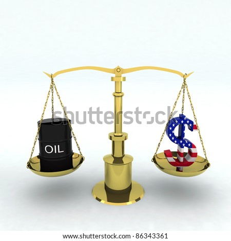 balance with bin oil and dollar sign