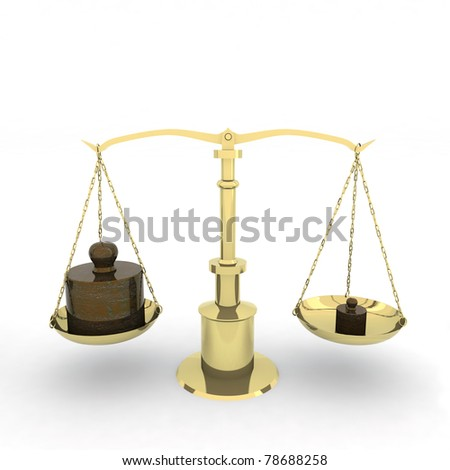 balance with two weights 3d illustration