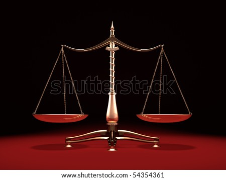 Balanced brass weight scales Law and Justice symbol Isolated on black red background - stock photo