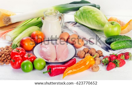 Shutterstock Balanced diet eating. Healthy food concept. Organic food