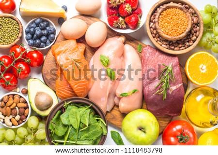 Balanced diet food background.  #1118483798