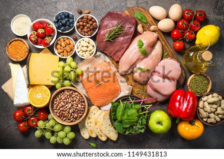 Balanced diet food background.