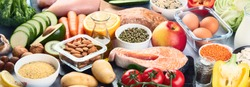 Balanced diet food background.. Nutrition, clean eating food concept. Diet plan with vitamins and minerals. Panorama, banner