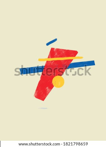 Balanced forms and Abstract Shapes with Primary Colors. Abstract Modernism Painting with Volume.  Bauhaus and Kandinsky vibe. For Print and Poster.