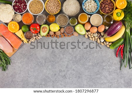 Balanced nutrition, assortment of eco products, sources of nutrients, immunity-enhancing properties with fruits, vegetables, herbs, spices, nuts, grains and beans. smart carbohydrates, omega-3s Photo stock ©