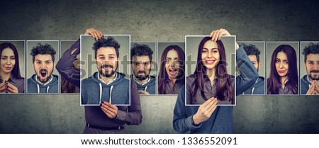 Balanced relationship concept. Masked woman and man expressing different emotions exchanging faces  Photo stock ©