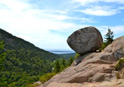 Balanced Rock atop South Bubble Mountain in Acadia National Park