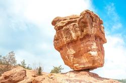 Balanced rock in the Garden of the Gods in Colorado Springs, Colorado