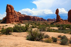 Balanced Rock with Blue Sky and Clouds at Arches National Park; Moab, UT