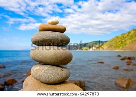Balanced stones in sea beach
