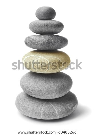 Balanced  Zen stones on white background - stock photo