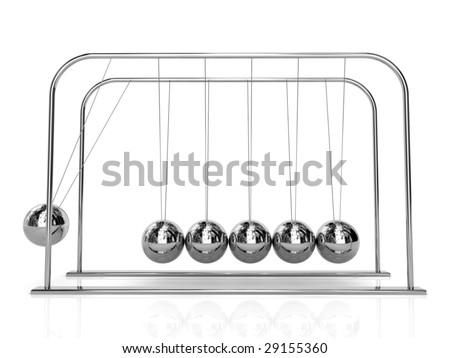 balancing balls Newton's cradle - stock photo