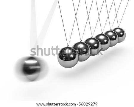 Balancing balls. Newton's cradle isolated on white background.