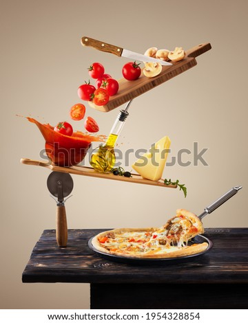 Balancing ingredients for making pizza. Levitation tomatoes. Conceptual food. Modern design. Contemporary art collage. Concept of fast food, breakfast, lunch. Stock fotó ©