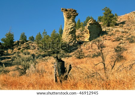 Balancing rock located in the Smith Rock State park in Terrebonne near Redmond,OR.