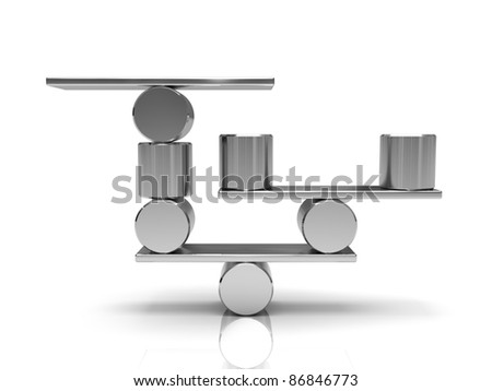 Balancing steel cylinders on the metal plate