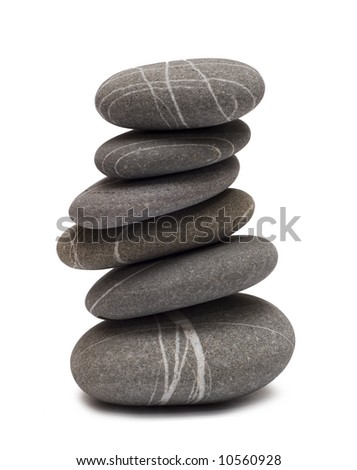 balancing stones isolated on white