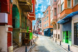 Balat district street view in Istanbul. Balat is popular tourist attraction in Istanbul, Turkey.