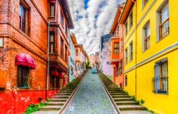 Balat district streets HDR view in Istanbul. Balat is popular tourist attraction in Istanbul, Turkey.